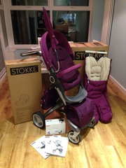 STOKKE XPLORY V4 2014 BABY STROLLER (CARRY COT / BABY CAR SEAT) 3 IN 1